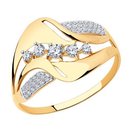 Кольцо из золота с фианитами (017521) - фото