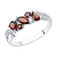 Кольцо из серебра с красными гранатами
