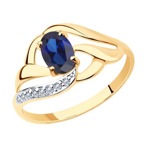 Кольцо из золота с корундом сапфировым (синт.) и фианитами (714648) - фото