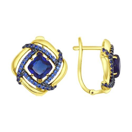 Серьги из желтого золота с синими корунд (синт.) и синими фианитами