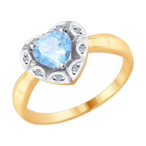 Кольцо из золота с бриллиантами и топазом (6014095) - фото