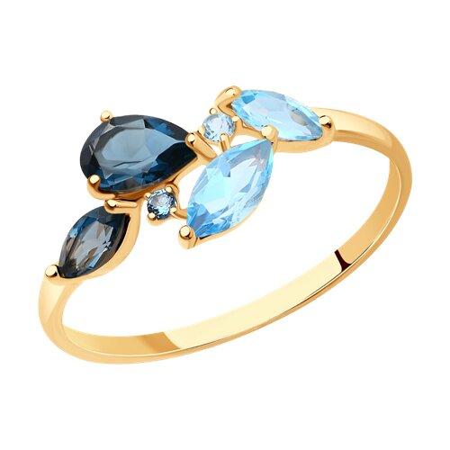 Кольцо из золота с голубыми и синими топазами (714820) - фото