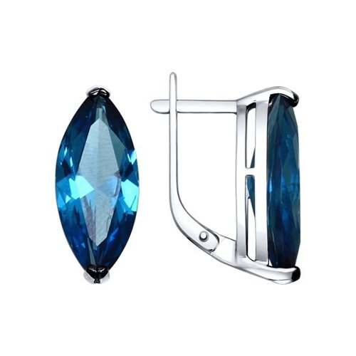 Серьги из серебра с синими ситаллами