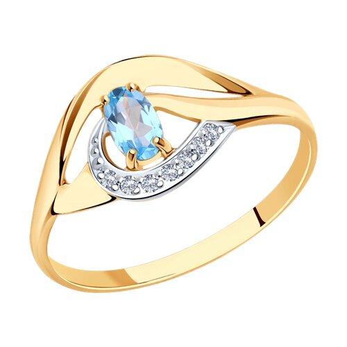 Кольцо из золота с голубым топазом и фианитами