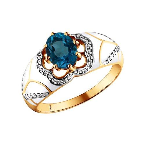 Золотое кольцо с глубоким синим топазом SOKOLOV
