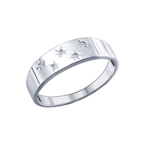 Кольцо SOKOLOV из серебра с алмазной гранью с фианитами запонки sokolov из серебра с эмалью алмазной гранью карбоном и фианитами