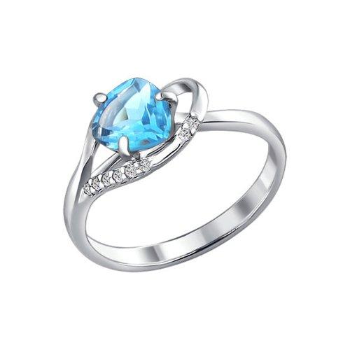 Кольцо из серебра с топазом и фианитами (92010248) - фото
