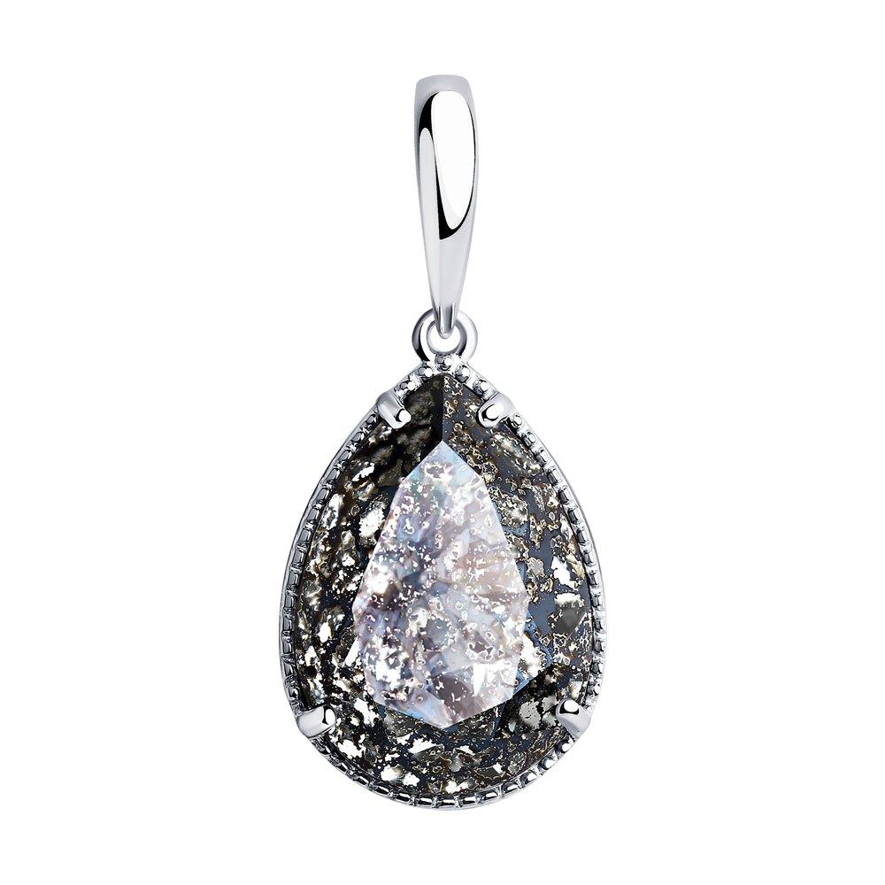Фото - Подвеска SOKOLOV из серебра с чёрным кристаллом Swarovski sokolov кольцо из серебра с чёрным кристаллом swarovski 94012037 размер 19 5
