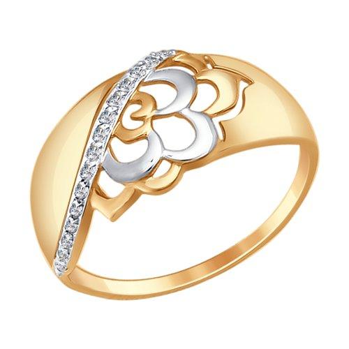 Кольцо из золота с фианитами (017336-4) - фото
