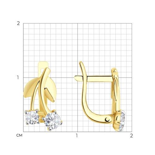 Серьги из желтого золота с фианитами (026688-2) - фото №2