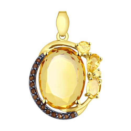 Подвеска из желтого золота с полудрагоценными вставками (51731284) - фото