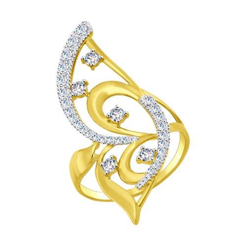 Кольцо из желтого золота с фианитами (017008-2) - фото