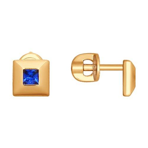 Серьги из золота с фианитами (027957) - фото