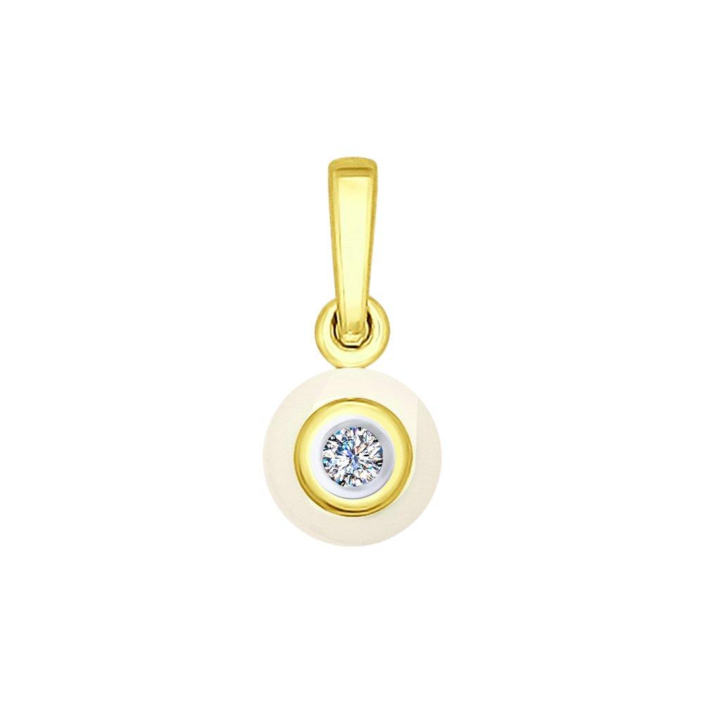 Фото - Подвеска SOKOLOV из желтого золота с бриллиантом и керамической вставкой подвеска sokolov из желтого золота с бриллиантом