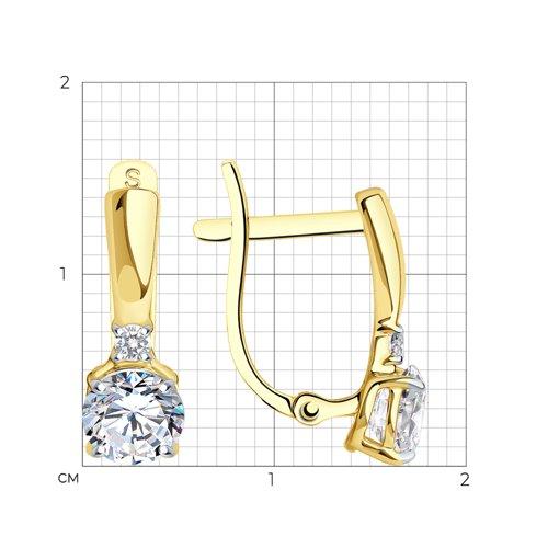 Серьги из желтого золота с фианитами (027522) - фото №2