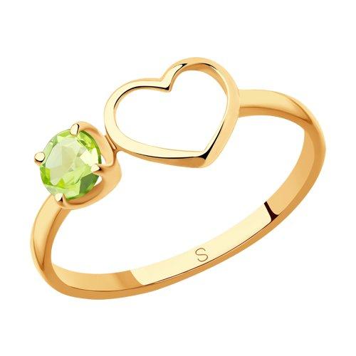 Кольцо из золота с хризолитом (715911) - фото