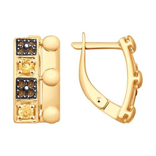 Серьги из золота с фианитами (027981) - фото