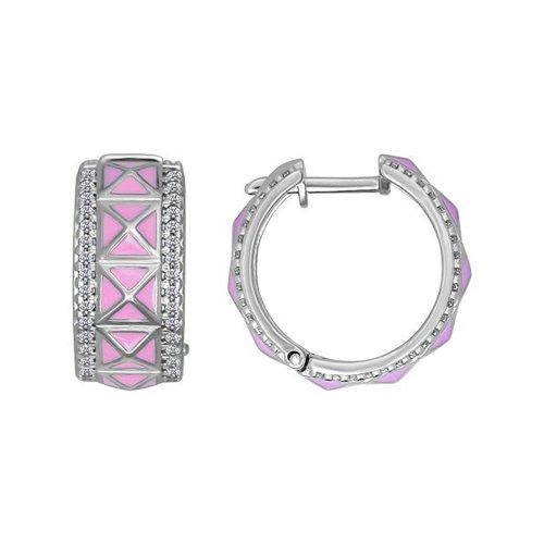 Серебряные серьги с розовой эмалью SOKOLOV