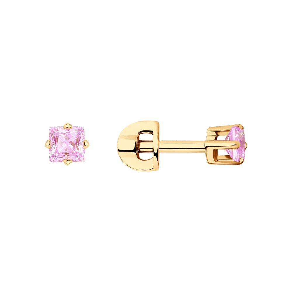 Серьги-пусеты SOKOLOV из золота с розовыми фианитами