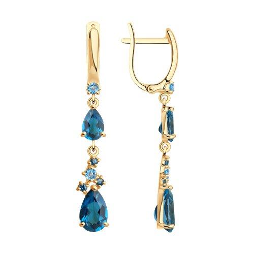 Серьги из золота с голубыми и синими топазами (725339) - фото