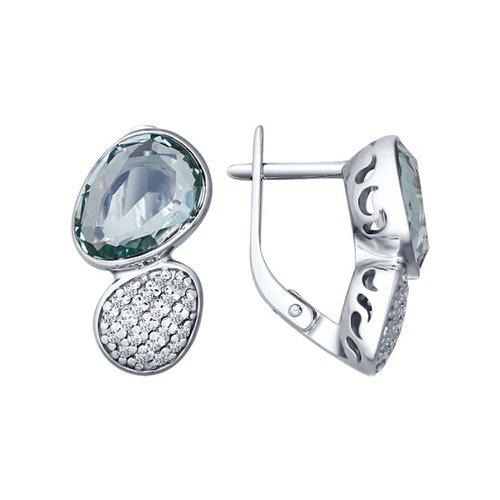 Серьги из серебра с кварцем и фианитами