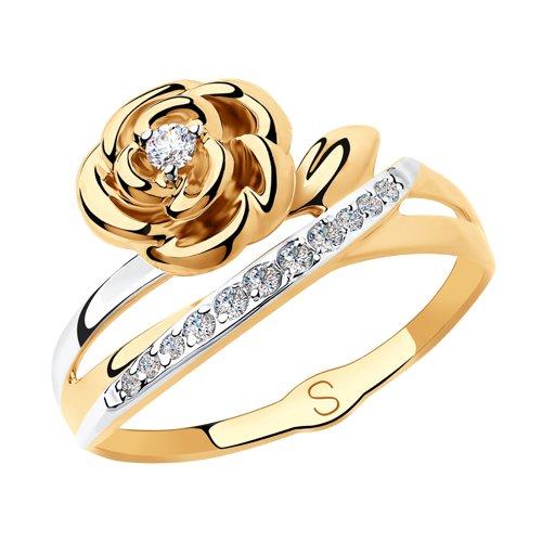Кольцо из золота с фианитами (018163) - фото