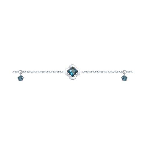 Браслет из серебра с синими топазами (92050115) - фото
