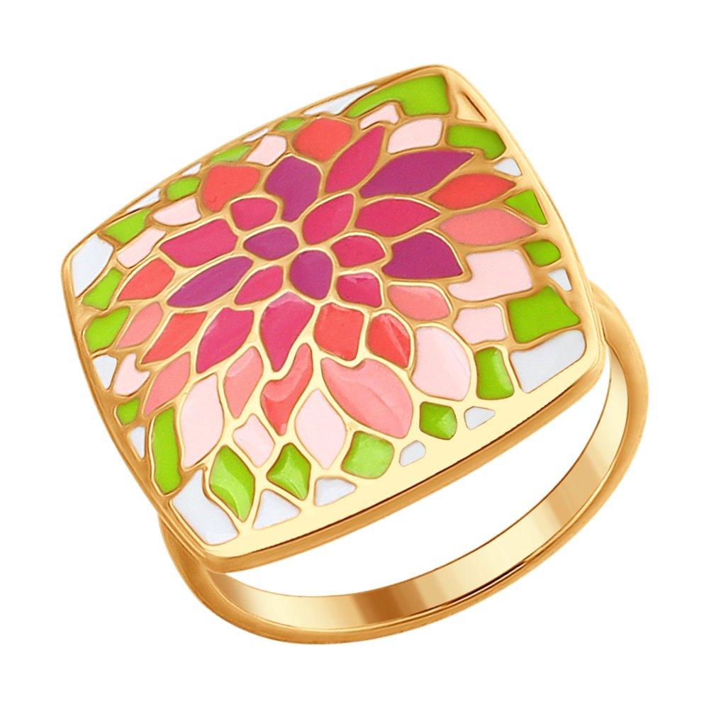 Фото - Кольцо SOKOLOV из золочёного серебра с эмалью трехрядное чёрное кольцо из золочёного серебра с эмалью