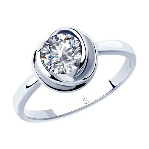 Кольцо из серебра с фианитом (94012819) - фото