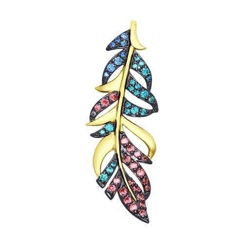 Подвеска SOKOLOV из желтого золота с голубыми, зелеными и розовыми фианитами