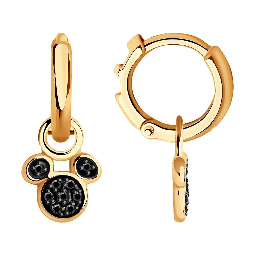 Серьги SOKOLOV из золота с черными облагороженными бриллиантами