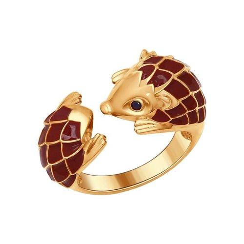 Позолоченное кольцо «Ёжик» SOKOLOV