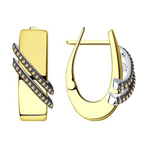 Серьги из желтого золота с бриллиантами 1021657 SOKOLOV фото