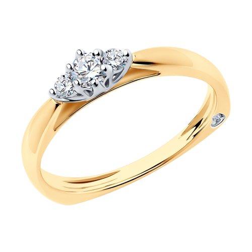 Кольцо из комбинированного золота с бриллиантами (1011700) - фото