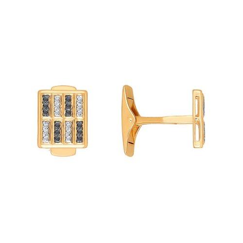 Запонки из золота с двумя видами фианитов
