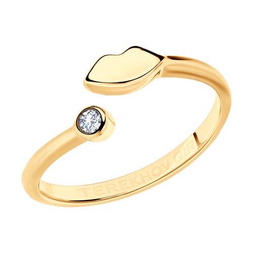 Кольцо из золочёного серебра с фианитом SOKOLOV x TerekhovGirl