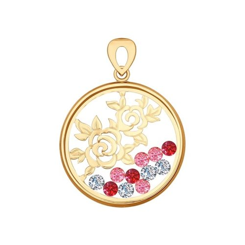 Подвеска из золота с минеральным стеклом и красными и розовыми фианитами