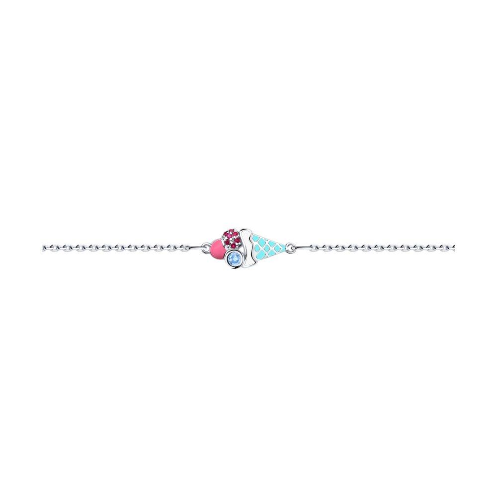 Серебряный браслет «Мороженое» с эмалью SOKOLOV