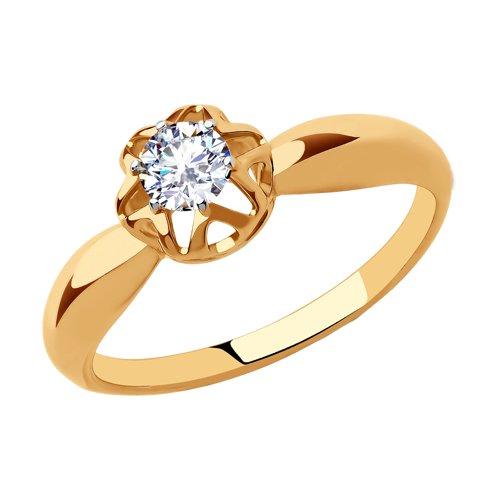 Кольцо из золота с фианитом (018275) - фото