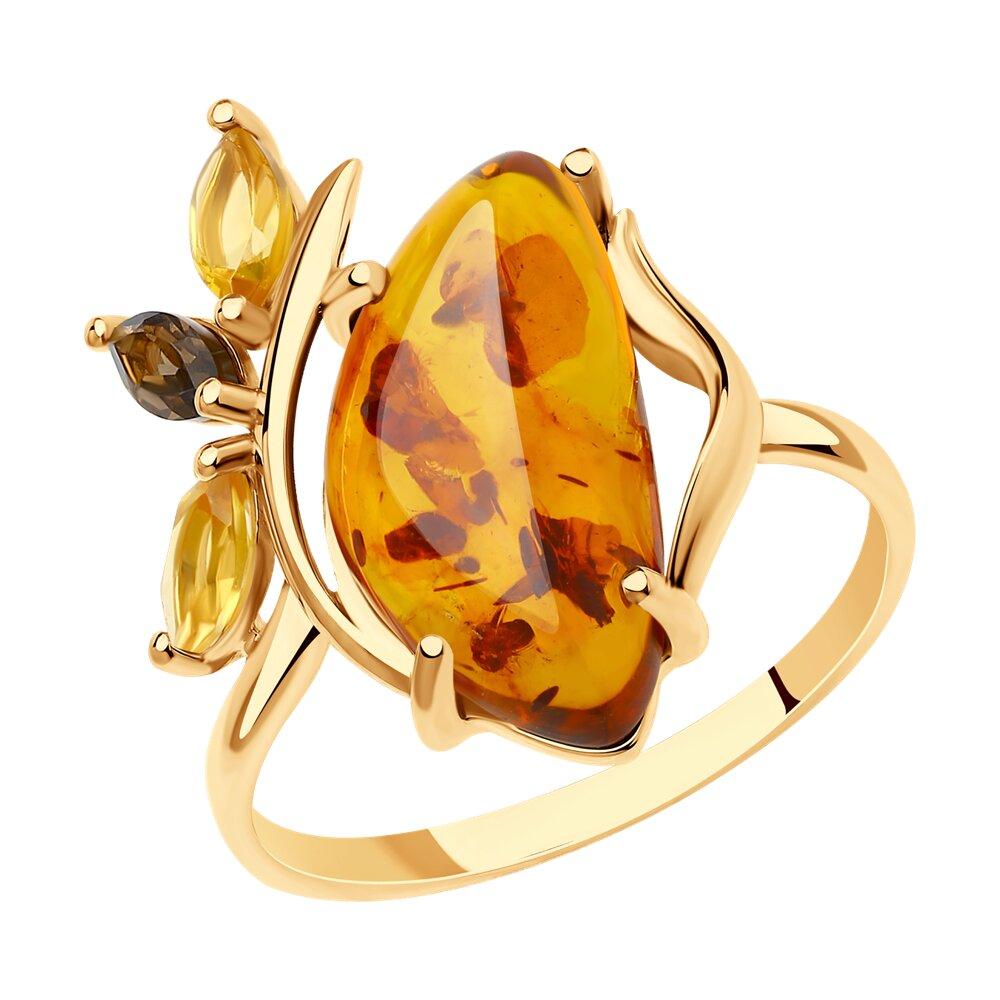 Кольцо SOKOLOV из золота с раухтопазом, цитринами и янтарём колье с раухтопазом и цитринами из серебра