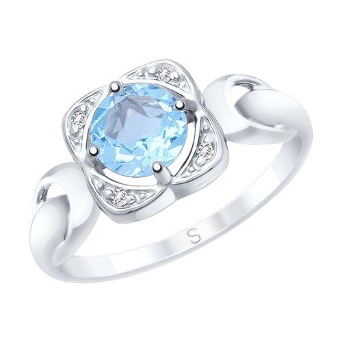 Кольцо из серебра с топазом и фианитами (92011677) - фото