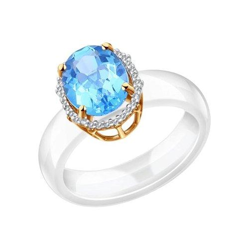 Керамическое кольцо с золотом и миксом камней SOKOLOV керамическое кольцо с золотом
