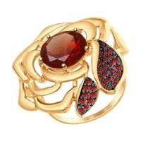 Кольцо из золота с красным ситаллом и красными фианитами