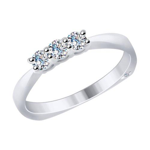 Кольцо из белого золота с бриллиантами (1011691) - фото