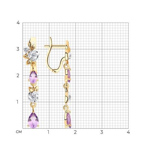 Серьги из золота с аметистами и фианитами 725919 SOKOLOV фото 2