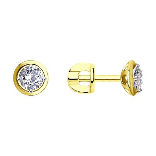Серьги из желтого золота с фианитами (027470-2) - фото