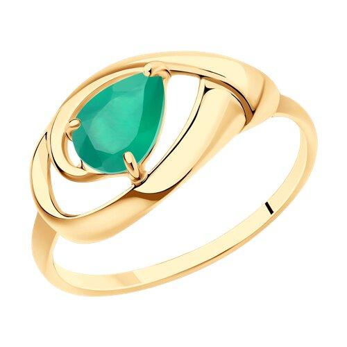 Кольцо из золота с агатом