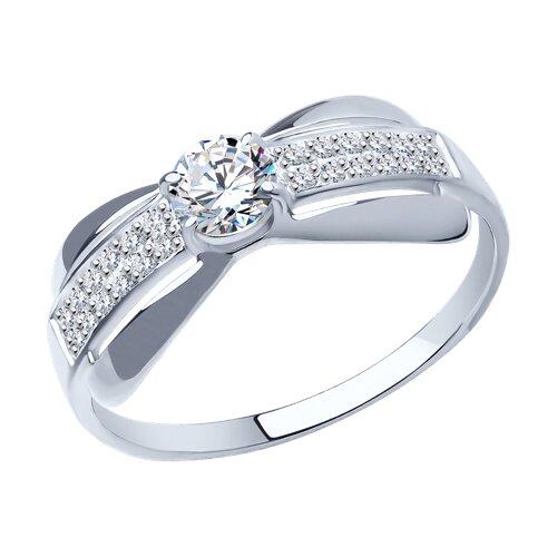 Кольцо из серебра с фианитами (94011470) - фото