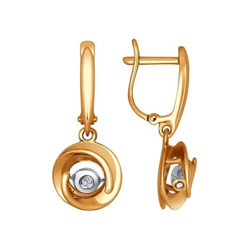 Золотые серьги с танцующим бриллиантом