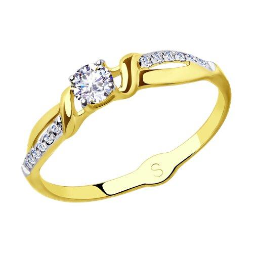 Кольцо из желтого золота с фианитами (018127-2) - фото